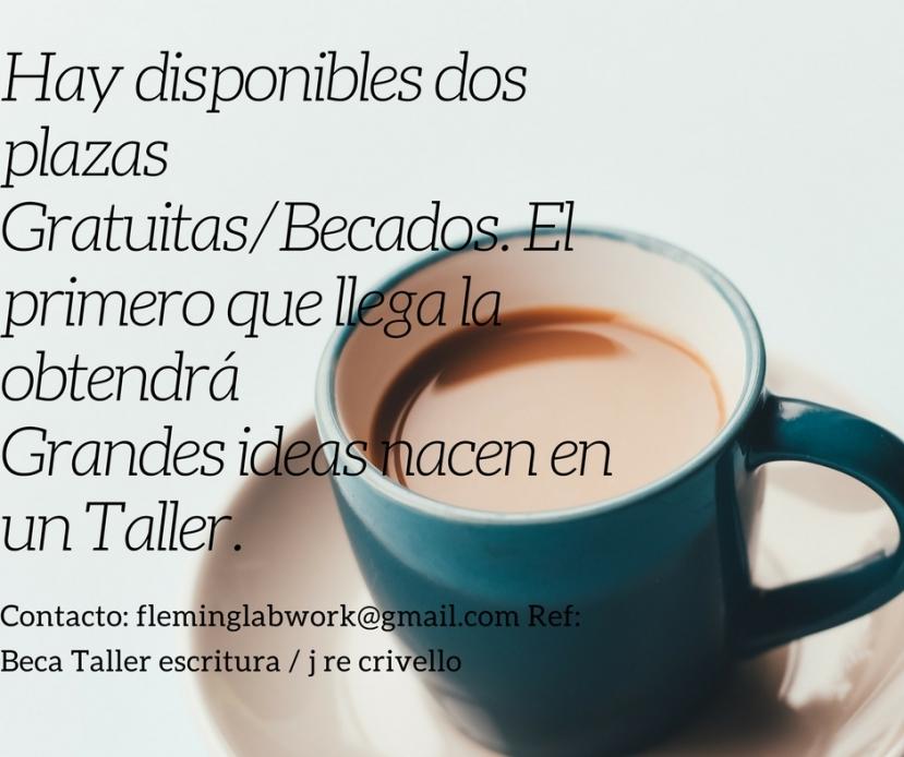 Hay disponibles dos plazas Gratuitas_Becados. El primero que llega la obtendráGran ideas nacen en un Taller.